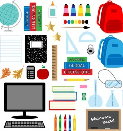 back to school supplies clipart download free vector art stock graphics images [ 3405 x 3468 Pixel ]