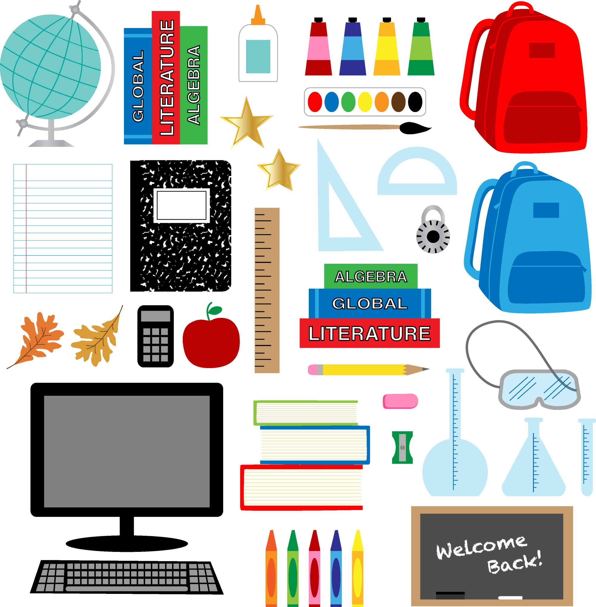 hight resolution of back to school supplies clipart download free vector art stock graphics images