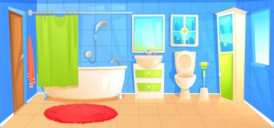 Bathroom design interior room with ceramic furniture background template Vector cartoon illustration Download Free Vectors Clipart Graphics & Vector Art