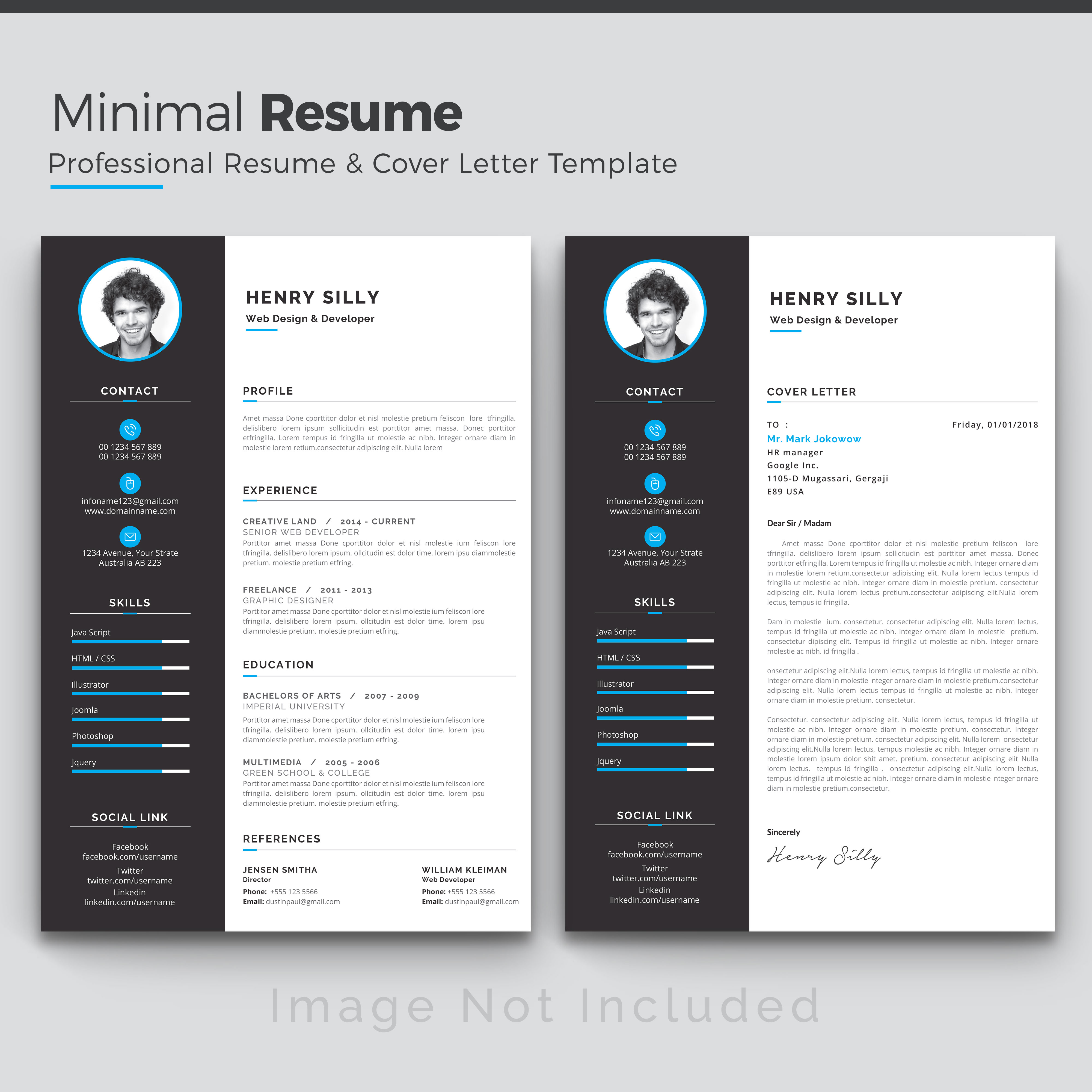 White Cv Template With Blue And Grey Details Download Free Vectors Clipart Graphics Vector Art