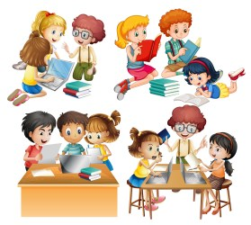 Groups of students reading and working on computer Download Free Vectors Clipart Graphics & Vector Art