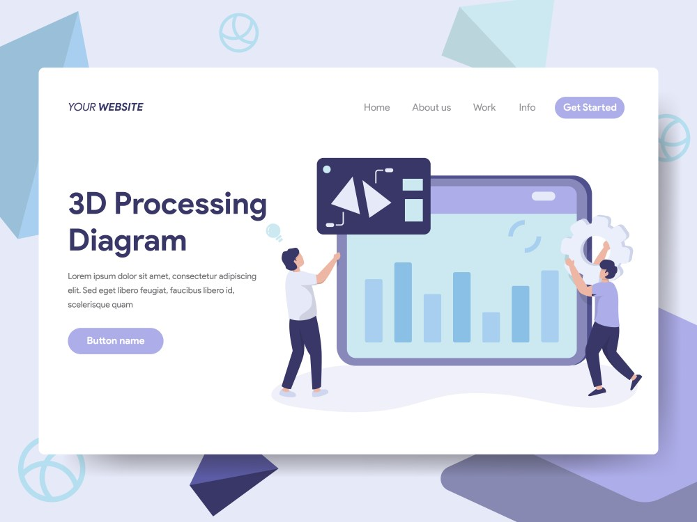 medium resolution of landing page template of 3d processing diagram illustration concept isometric flat design concept of web page design for website and mobile website