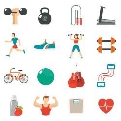 Fitness Icon Flat Set Download Free Vectors Clipart Graphics & Vector Art