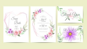 https www vecteezy com vector art 584114 elegant wedding invitation template set of watercolor floral frame hand drawing flower and branches save the date greeting thank you and rsvp cards multipurpose