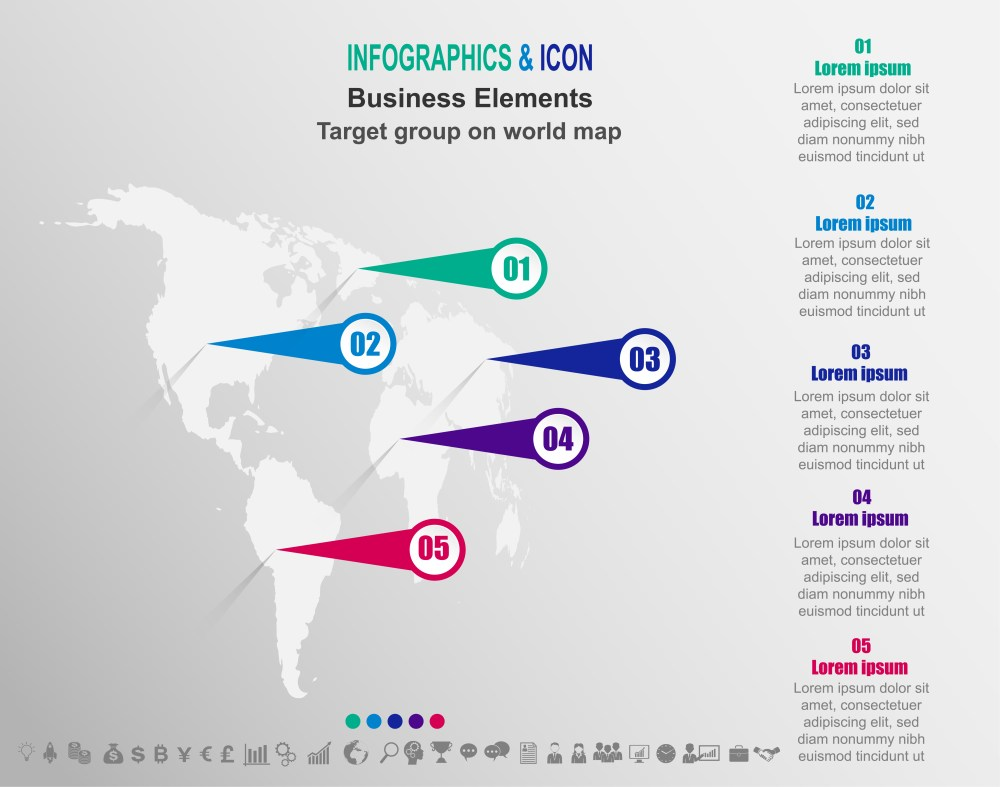 medium resolution of infographic business target group on world map world map and marketing icons can be used for workflow layout diagram report vector