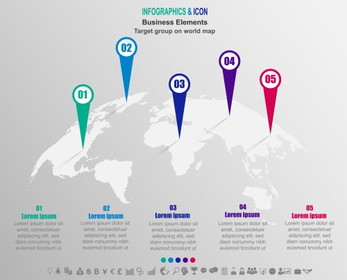 small resolution of infographic business target group on world map world map and marketing icons can be used for workflow layout diagram report vector