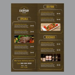 Restaurant Food Menu with Wood Background and Rough Brush Strokes Download Free Vectors Clipart Graphics & Vector Art