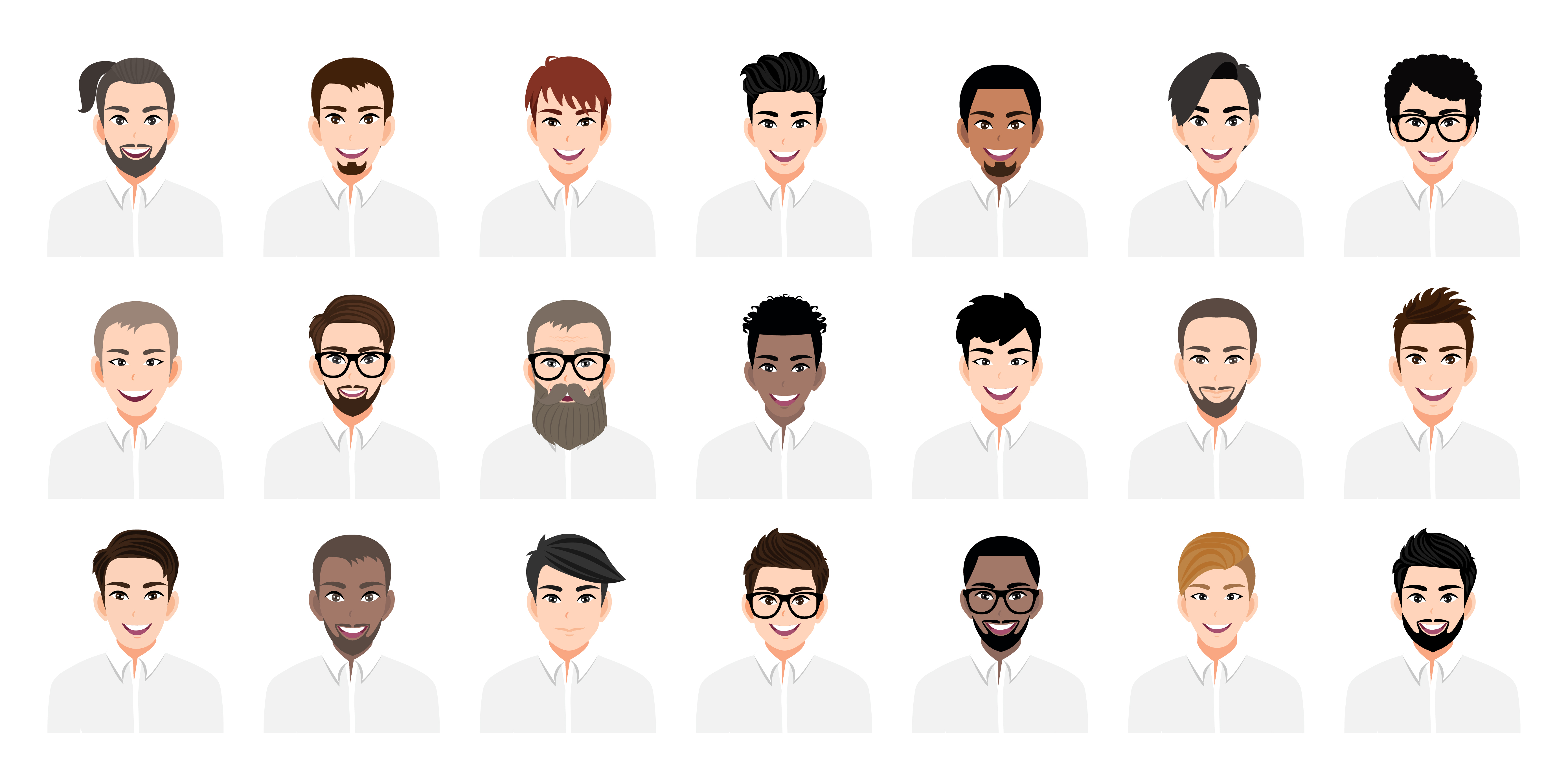 Young Men Cartoon Set With Different Hairstyles Download Free Vectors Clipart Graphics Vector Art