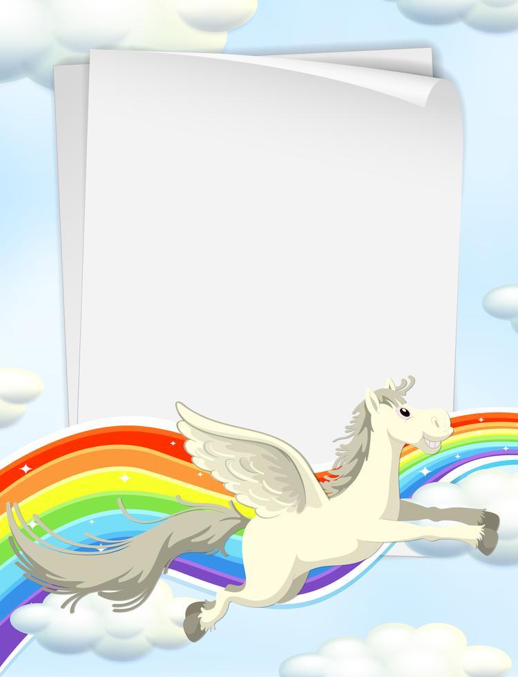 Einhorn und Regenbogen am Himmel Vorlage 420085 Vektor