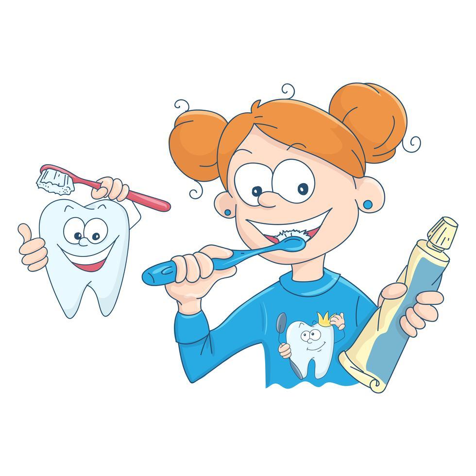 Vector Abbildung eines kleinen Mädchens das ihre Zähne
