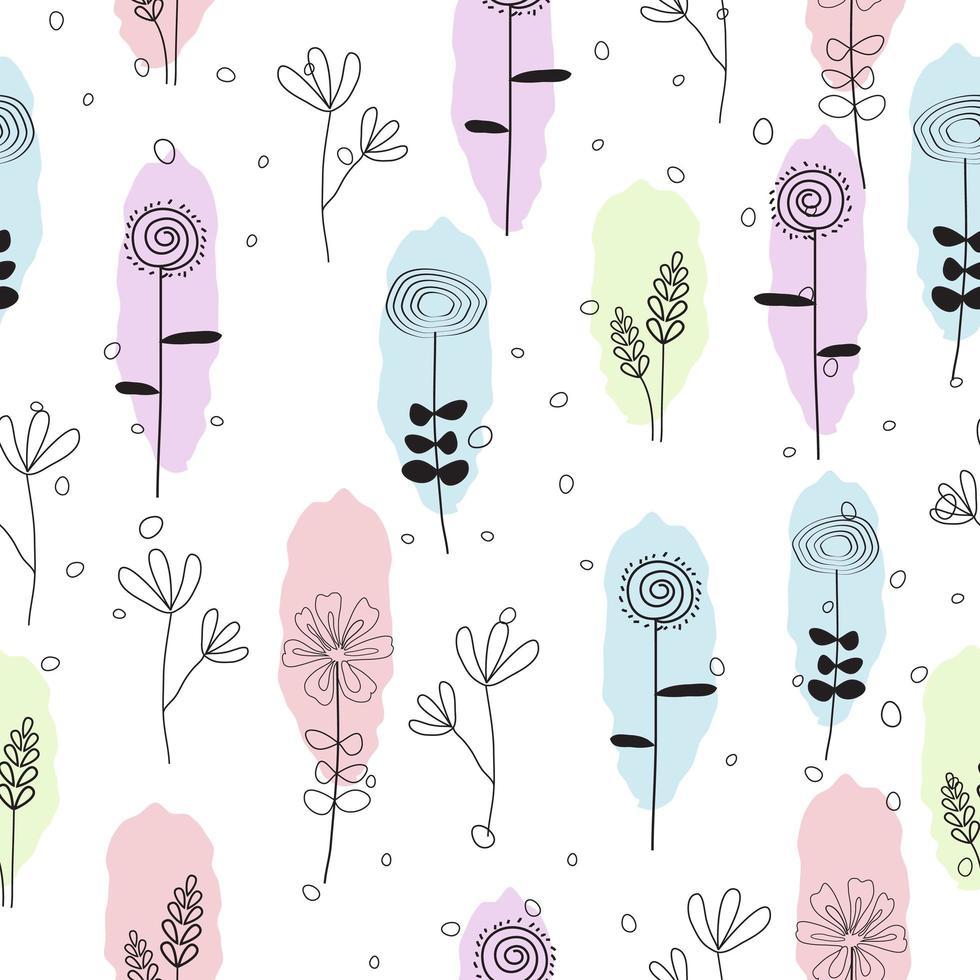 https fr vecteezy com art vectoriel 1222479 mignon dessine a la main pastel floral seamless pattern