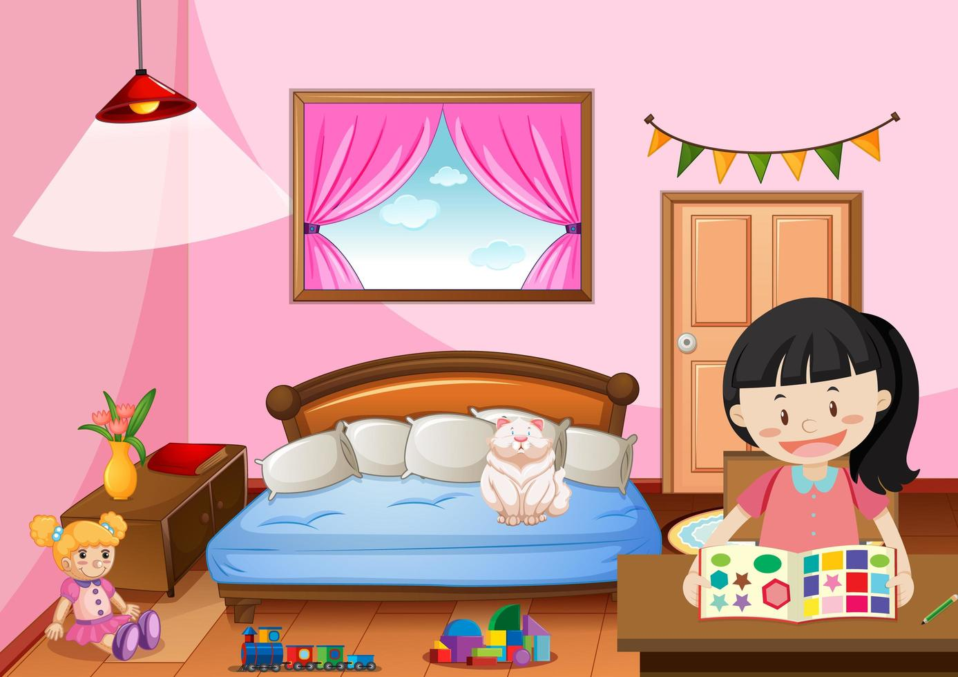 https fr vecteezy com art vectoriel 1520223 chambre de fille en couleur rose theme avec une fille