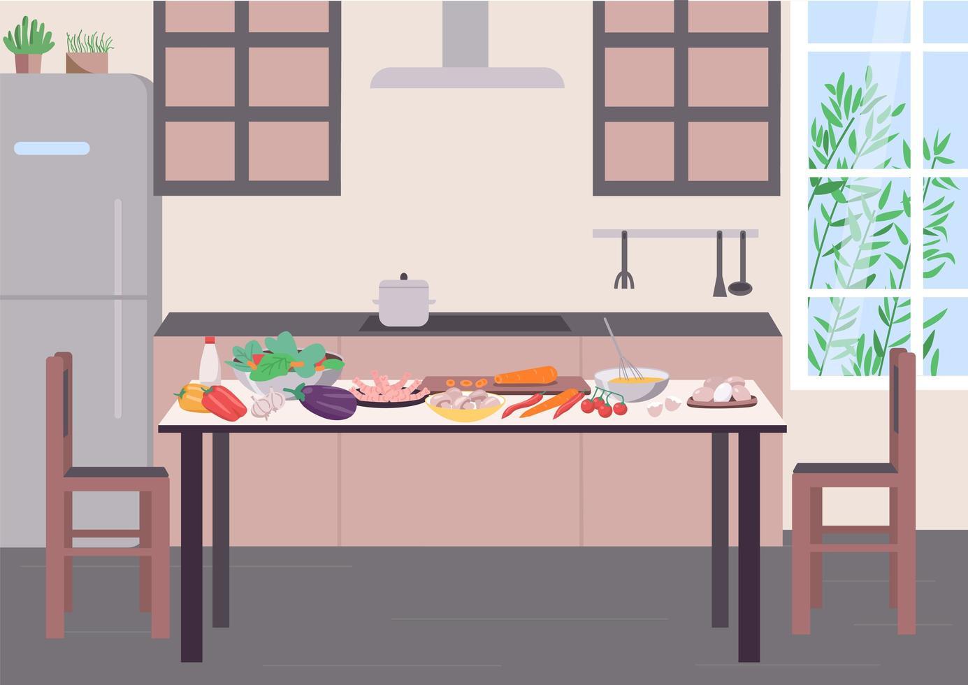 https fr vecteezy com art vectoriel 1815198 table de cuisine pour cuisine plat couleur illustration vectorielle