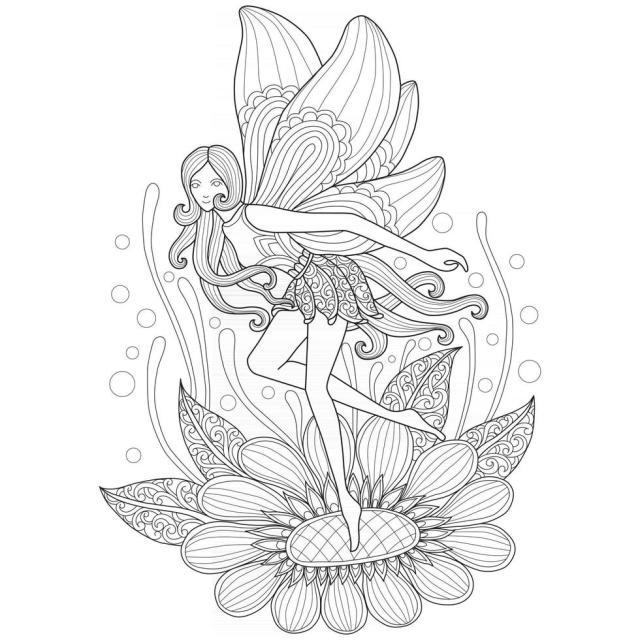 fée et fleur dessinés à la main pour livre de coloriage adulte