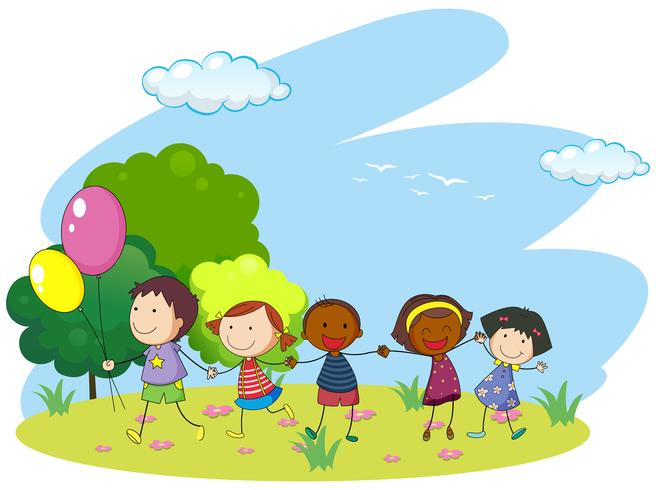Enfants, tenant mains, dans parc - Telecharger Vectoriel Gratuit, Clipart  Graphique, Vecteur Dessins et Pictogramme Gratuit