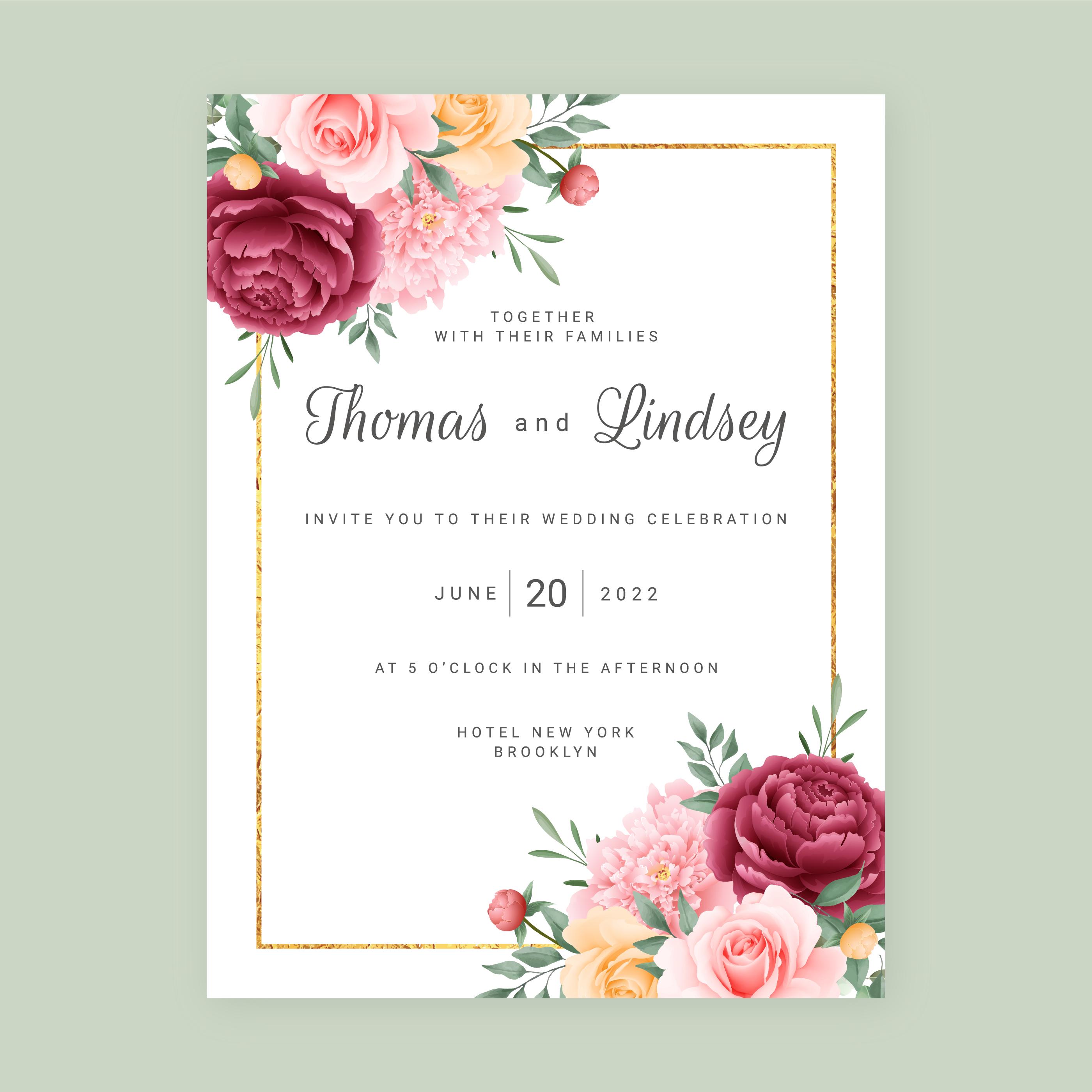 invitation de mariage de fond de fleurs