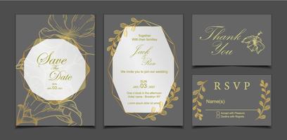 https fr vecteezy com art vectoriel 567100 modele de carte d 39 invitation de mariage de luxe fond sombre et cadre dore geometrique avec decoration florale fleur d 39 hibiscus et feuilles sauvages