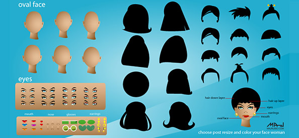 Vector Girl Avatar Set including Hair, Face and Eye templates