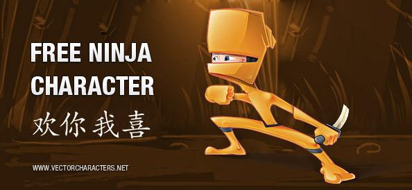 Orange Ninja Vector Character
