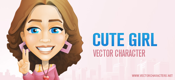 Cute Girl Vector Character