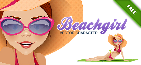 Free Vector Girl on the Beach
