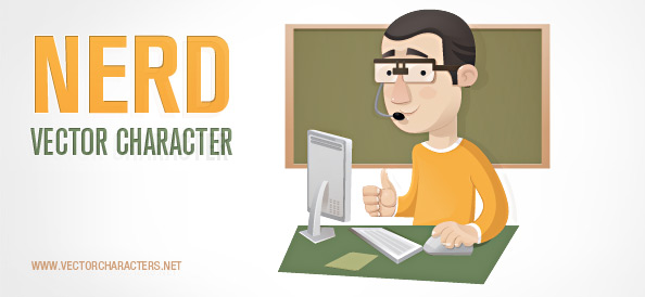 Nerd Vector Character with a Computer