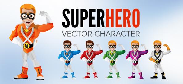 Superhero Vector Character with Mask