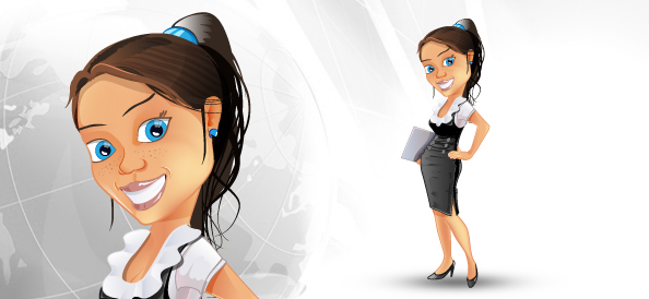 Successful Business Woman Vector Character