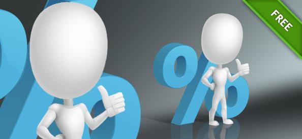 3D Guy with Percent Symbol