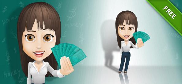 Businesswoman Vector Holding Money