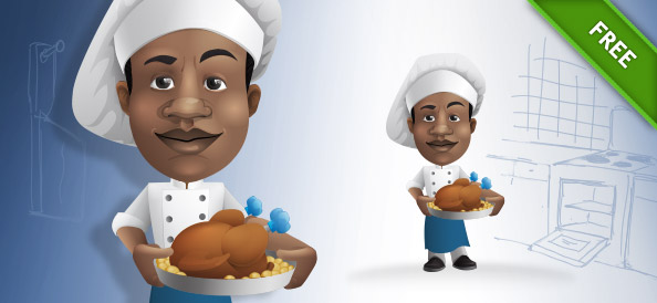 Chef Vector Character Holding a Tray