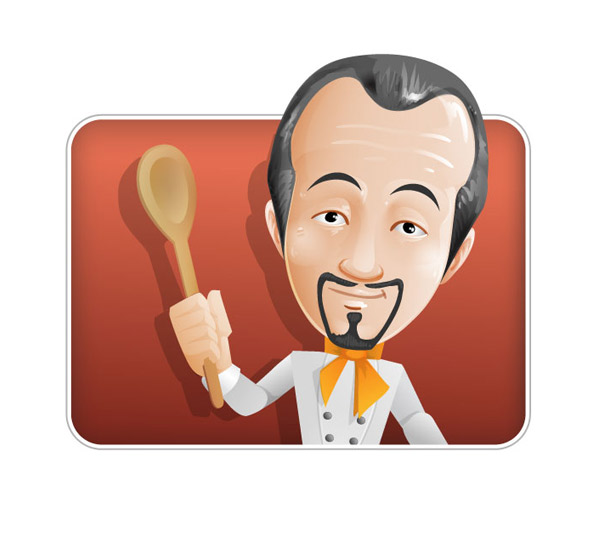 Chef Vector Character Over Red Background Preview