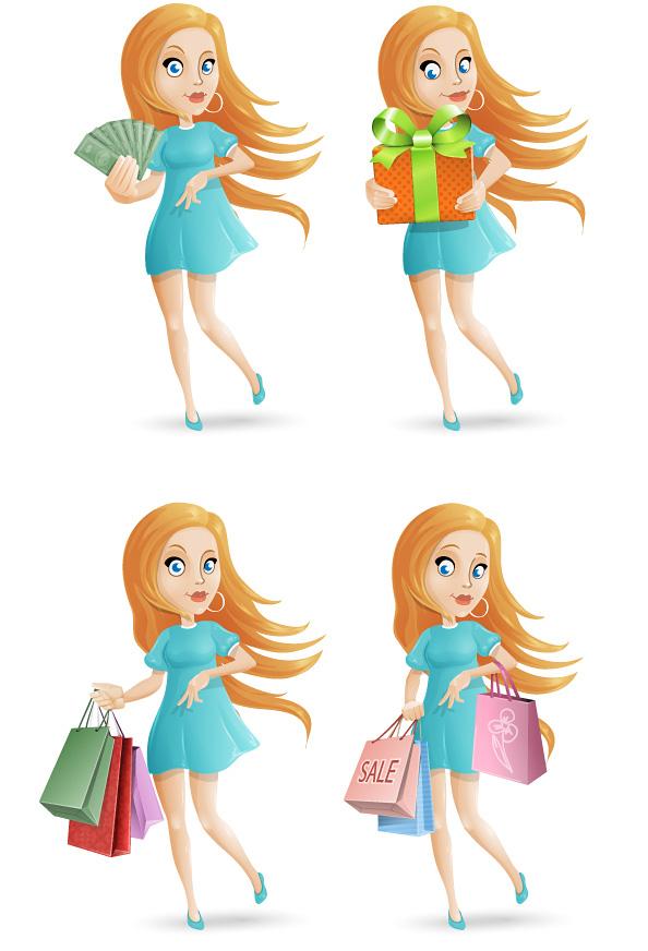 Free Shopping Girl Vector Character Set