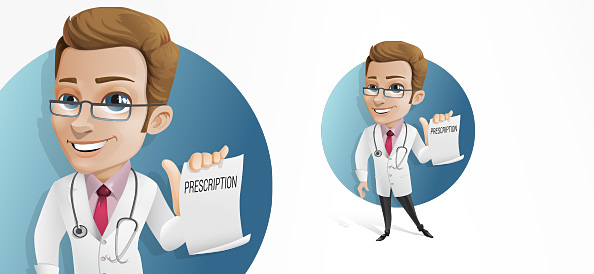 Doctor Vector Character Holding a Prescription