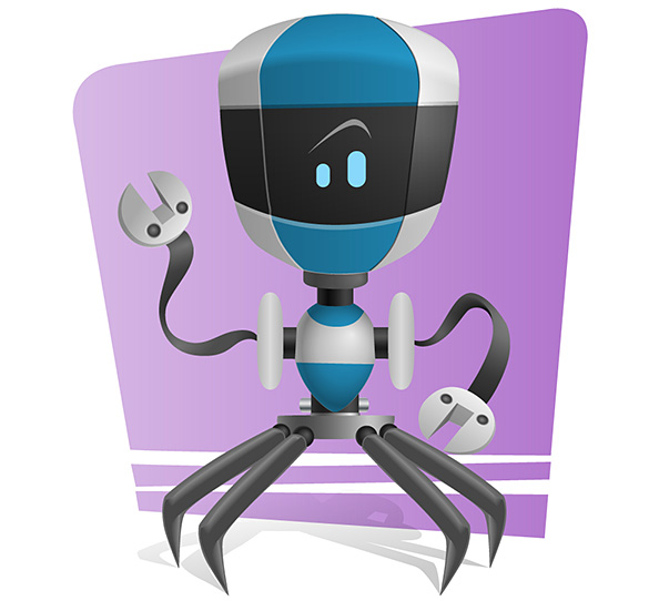 Blue Robot Vector Character Preview