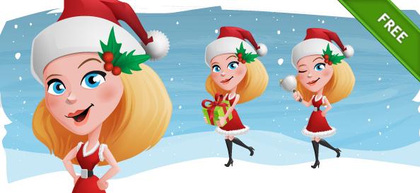 Christmas Girl Vector Character Set