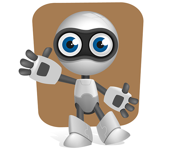 Robot Vector Character with Glossy Effects Preview