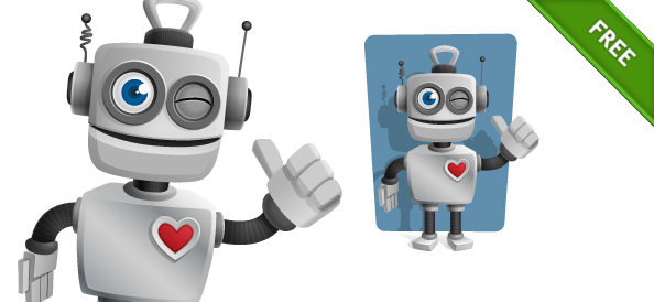 Robot Vector Character with Thumbs Up
