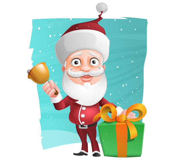 Free Santa Claus Vector Character Holding a Gift Preview