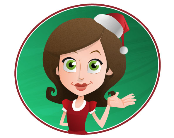 Woman Vector Character with Holiday Hat Preview
