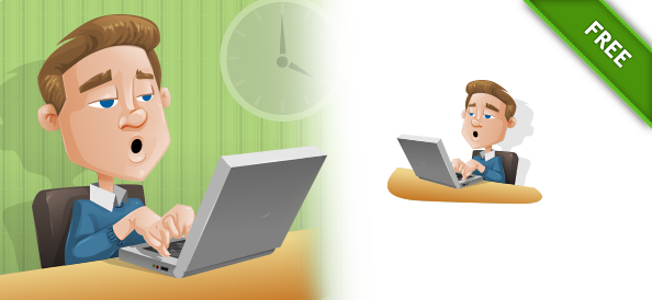 Man Vector Character with laptop