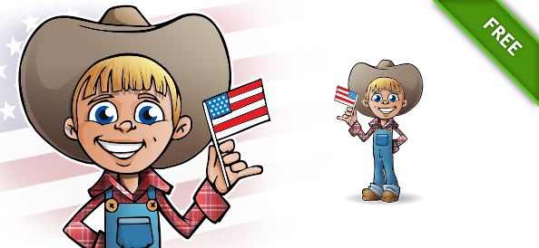 Patriotic Boy Vector Character