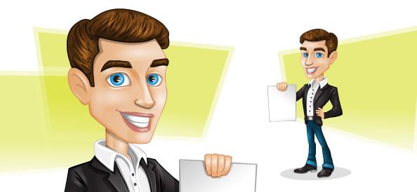 Vector Businessman Holding Paper