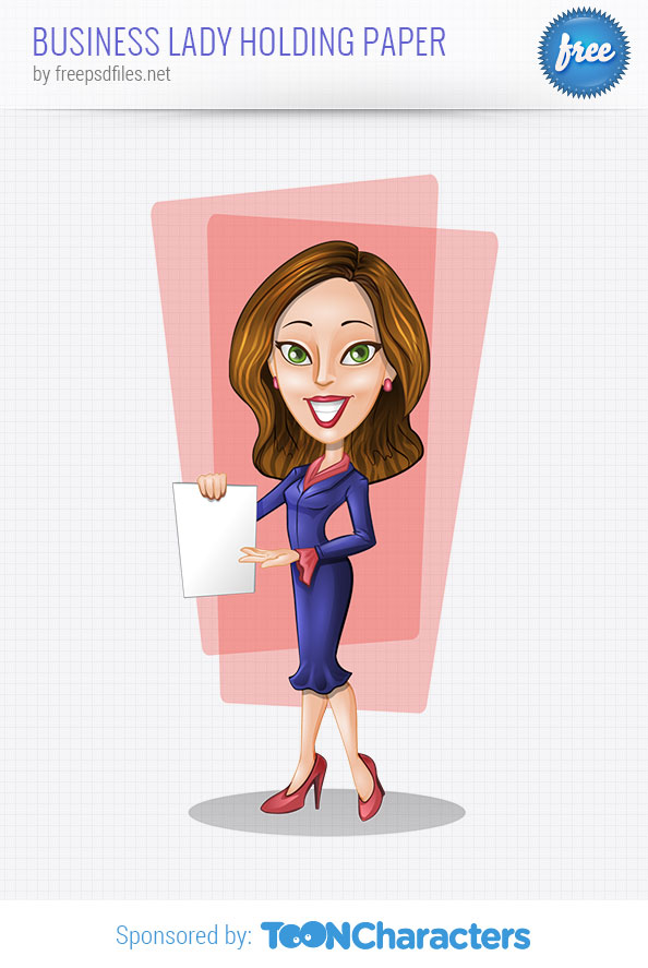 Vector business lady holding paper