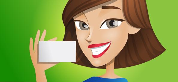 Vector Girl Holding Card
