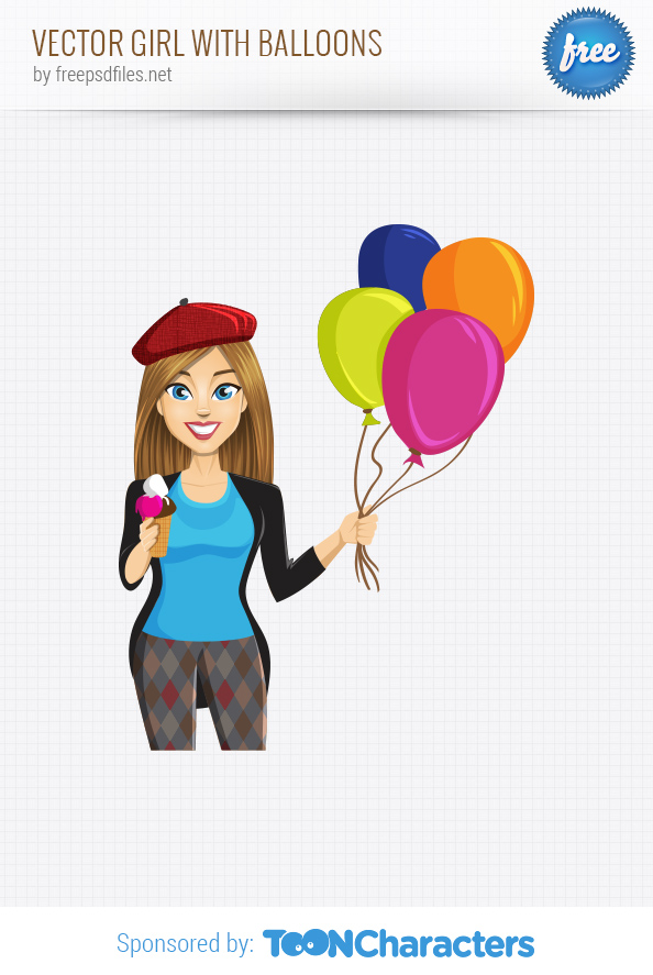 Vector Girl with Balloons