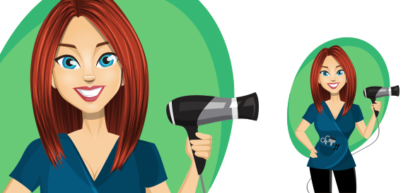 Vector Female Hairstylist