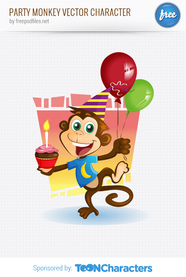 Party Monkey Vector Character