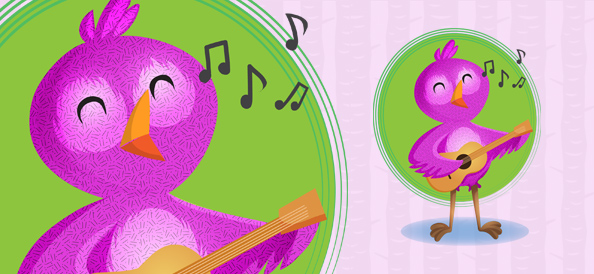 Vector Bird Playing Guitar