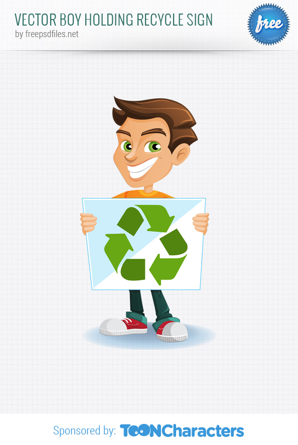 Vector Boy Holding Recycle Sign